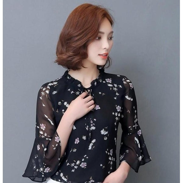 319152ba9837ed Shop Summer Chiffon Bell Sleeve Top - Black - M - Free Shipping On Orders  Over $45 - Overstock - 24112439