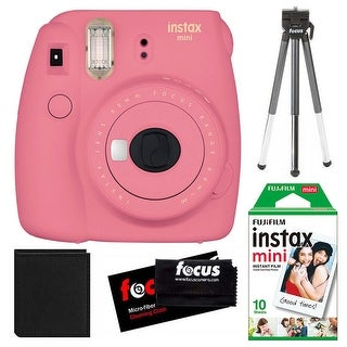 Fujifilm Instax Mini 9 (Flamingo Pink) w/ Instax Film Essentials Bundle
