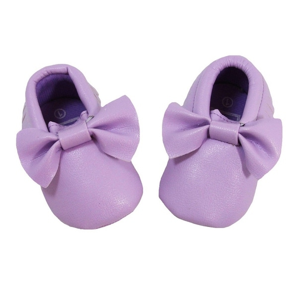 Baby Girls Lavender Bow Faux Leather Moccasin Soft Sole Crib Shoes 3-18M