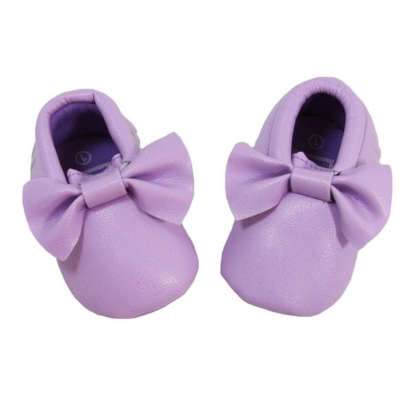 Baby Girls Lavender Bow Faux Leather Moccasin Soft Sole Crib Shoes