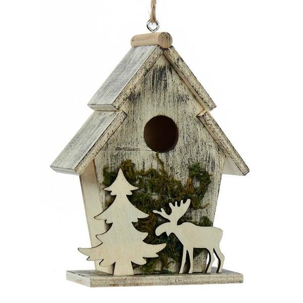bird house ornaments Shop Kurt Adler Birdhouses With Moose And Tree Moss