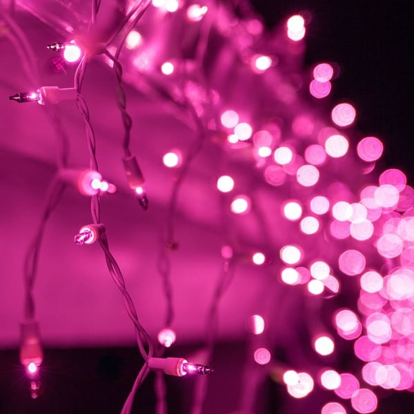 """Wintergreen Lighting 17598 Mini Icicle Lights with 3.5"""" Spacing and White Wire - PURPLE - N/A"""