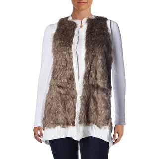 NY Collection Womens Faux Fur Knit Vest