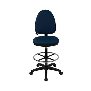Offex Mid-Back Navy Blue Fabric Multi-Functional Drafting Stool with Adjustable Lumbar Support [OF-WL-A654MG-NVY-D-GG]