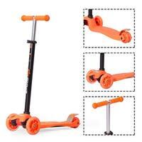 Goplus Aluminum 3 LED Light Up Wheel Kids Kick Scooter Adjustable Height For Toddlers - Orange