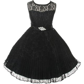 Flower Girl Dress Pleated Lace See Through Shoulder Black GG 3527