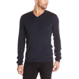 Calvin Klein CK Faux Leather Trim V-Neck Sweater XXL 2XL Officer Navy