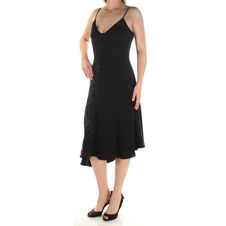 Womens Black Spaghetti Strap Knee Length Cocktail Dress Size: 8