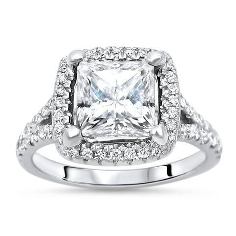 14k White Gold Princess Cut 2ct Moissanite and Diamond Engagement Ring