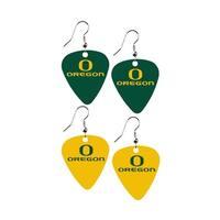 Oregon Ducks NCAA Guitar Pick Dangle Earrings Charm Gift - Set of 2