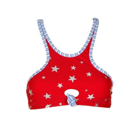 California Waves Juniors Red Blue Americana High-Neck Bikini Top L