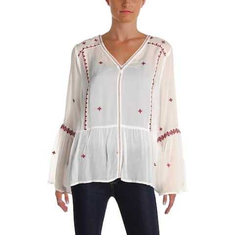 Aqua Womens Blouse Embroidered Bell Sleeve