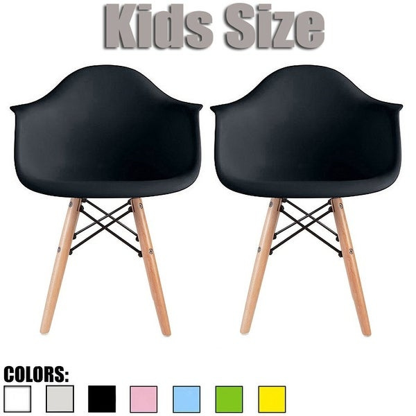 2xhome Set Of 2 Black Plastic Chairs With Arms Armchair Natural Wood Child  Kids Preschool Daycare