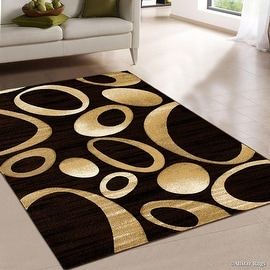 "Allstar Brown Carved Circles Modern Geometric Area Rug (5' 2"" x 7' 2"")"