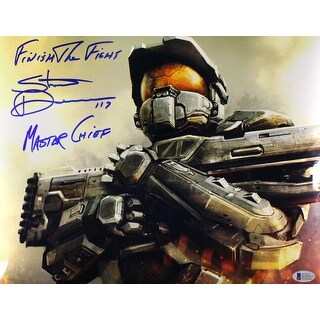 Steve Downes Autographed Halo 11x14 Photo Master Chief Finish Fight BAS