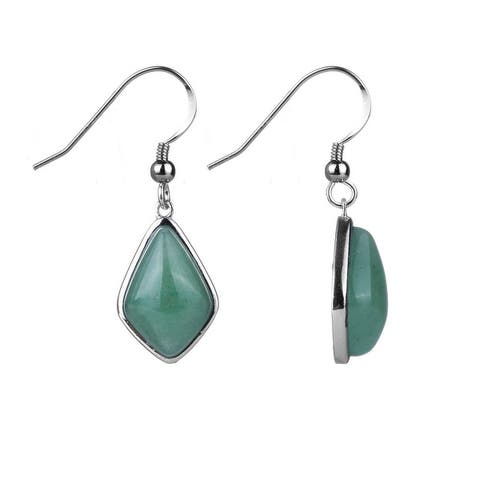 Sterling Silver With Natural Green Aventurine Fancy Dangle Earring