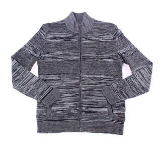 Alfani Gray Deep Black Mens Size 2XL Marled Full Zip Sweater