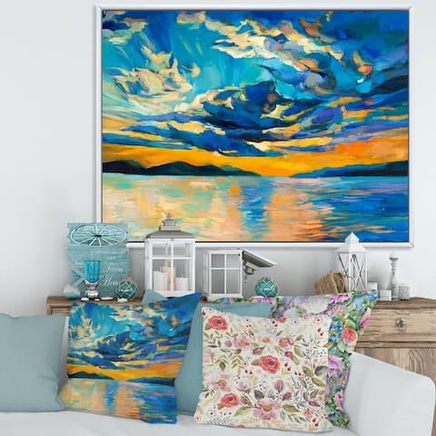 Designart 'Cloudy Wide Open Sunset Over Ocean Horizon' Nautical & Coastal Framed Canvas Wall Art Print