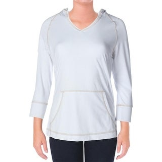White Sierra Womens French Terry V-Neck Hoodie