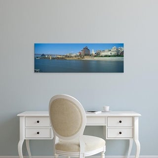 Easy Art Prints Panoramic Image 'Mississippi River with Bridge and Pyramid Sports Arena, Memphis, TN' Canvas Art