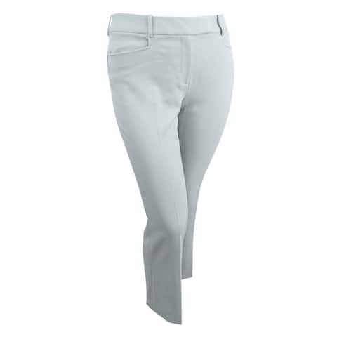 Tahari ASL Women's Petite Twill Tab-Waist Pants (10P, Grey) - Grey - 10P