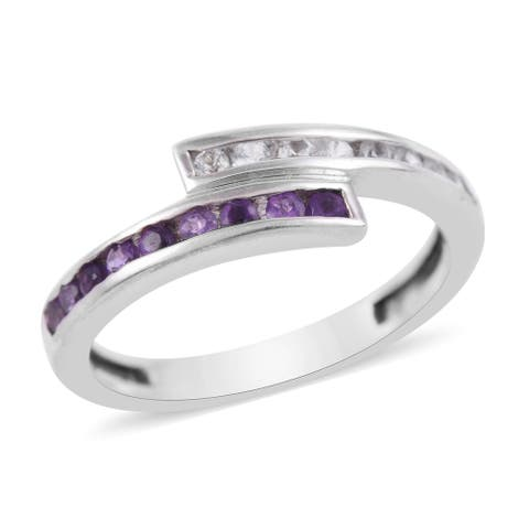 Shop LC 925 Sterling Silver Amethyst White Created Sapphire Ring