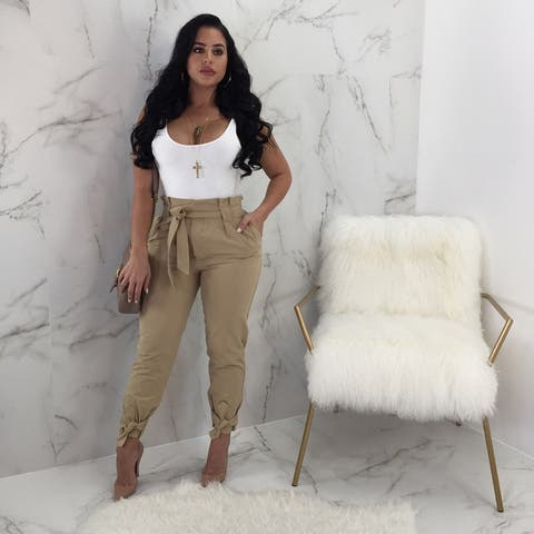 Solid Color Bandage High Waist Loose Wild Casual Pants