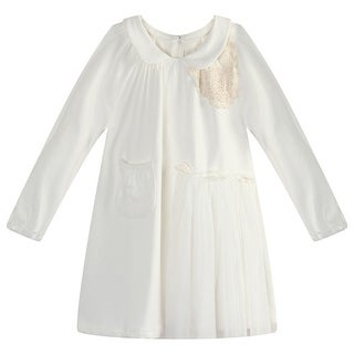 Richie House Little Girls White Lace Mesh Fabric Long Top 3-7