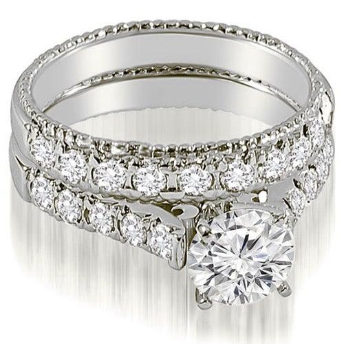 1.75 CT.TW Vintage Cathedral Round Cut Diamond Bridal Set,HI,SI1-2