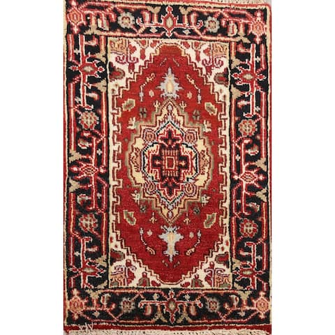 "Geometric Heriz Oriental Home Decor Area Rug Wool Hand-Knotted - 1'11"" x 3'0"""