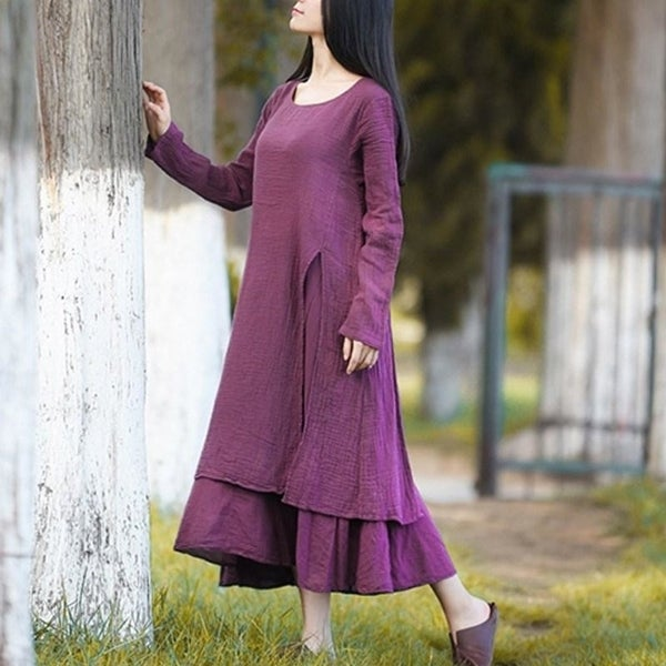 525771b1f7 Plus Size Women Casual Solid Spring Dress Loose Long Sleeve Round Neck  Autumn Dress Cotton Linen