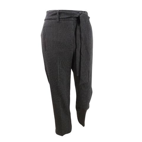 Bar III Women's Plus Size Striped Tie-Waist Pants