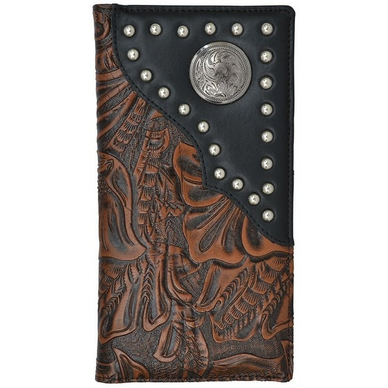 """3D Western Wallet Men Rodeo Classics Concho Studs Overlay Brown - 7 1/8"""" x 3 3/4"""""""