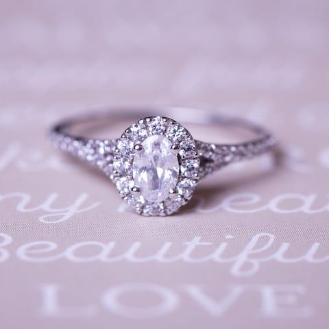 Auriya Platinum 7/8ctw Modern Oval-cut Halo Diamond Engagement Ring