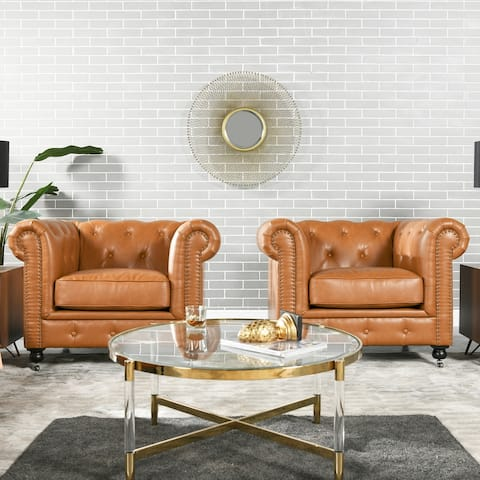 Copper Grove Winston Tufted Scroll Arms Chesterfield Armchair
