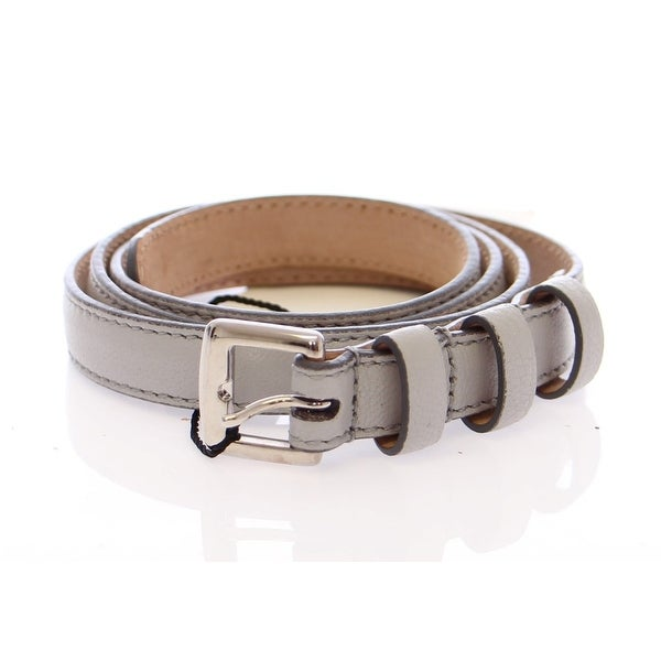 Dolce & Gabbana Gray Leather Logo Belt