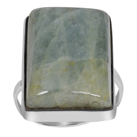 Amazonite Sterling Silver Cushion Promise Ring by Orchid Jewelry
