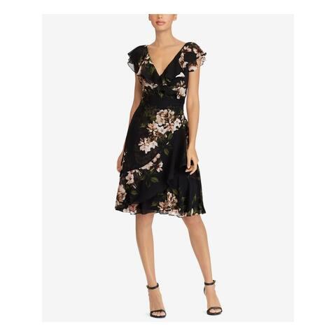 RALPH LAUREN Womens Black Sheer Floral Short Sleeve V Neck Knee Length Empire Waist Cocktail Dress Petites Size: 0