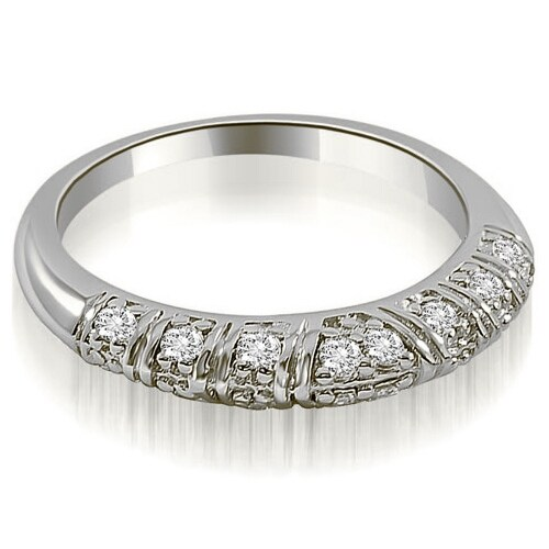 0.35 cttw. 14K White Gold Antique Style Round Cut Diamond Wedding Ring