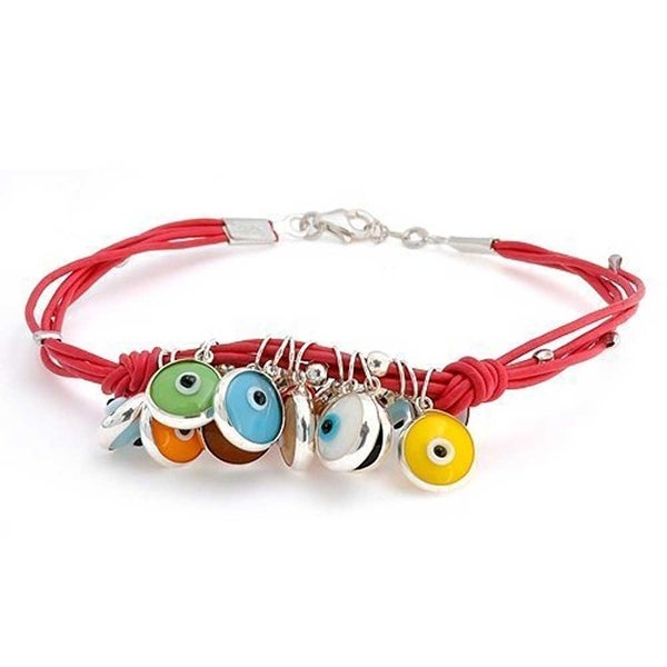 Turkish Colorful Evil Eye Dangle Charms Red Leather Bracelet For Women For Teens 14K Gold Plate 925 Sterling Silver
