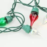 Set of 50 Clear, Red and Green Twinkle Flame Tip Glass Bulb C5 Mini Christmas Lights - Green Wire
