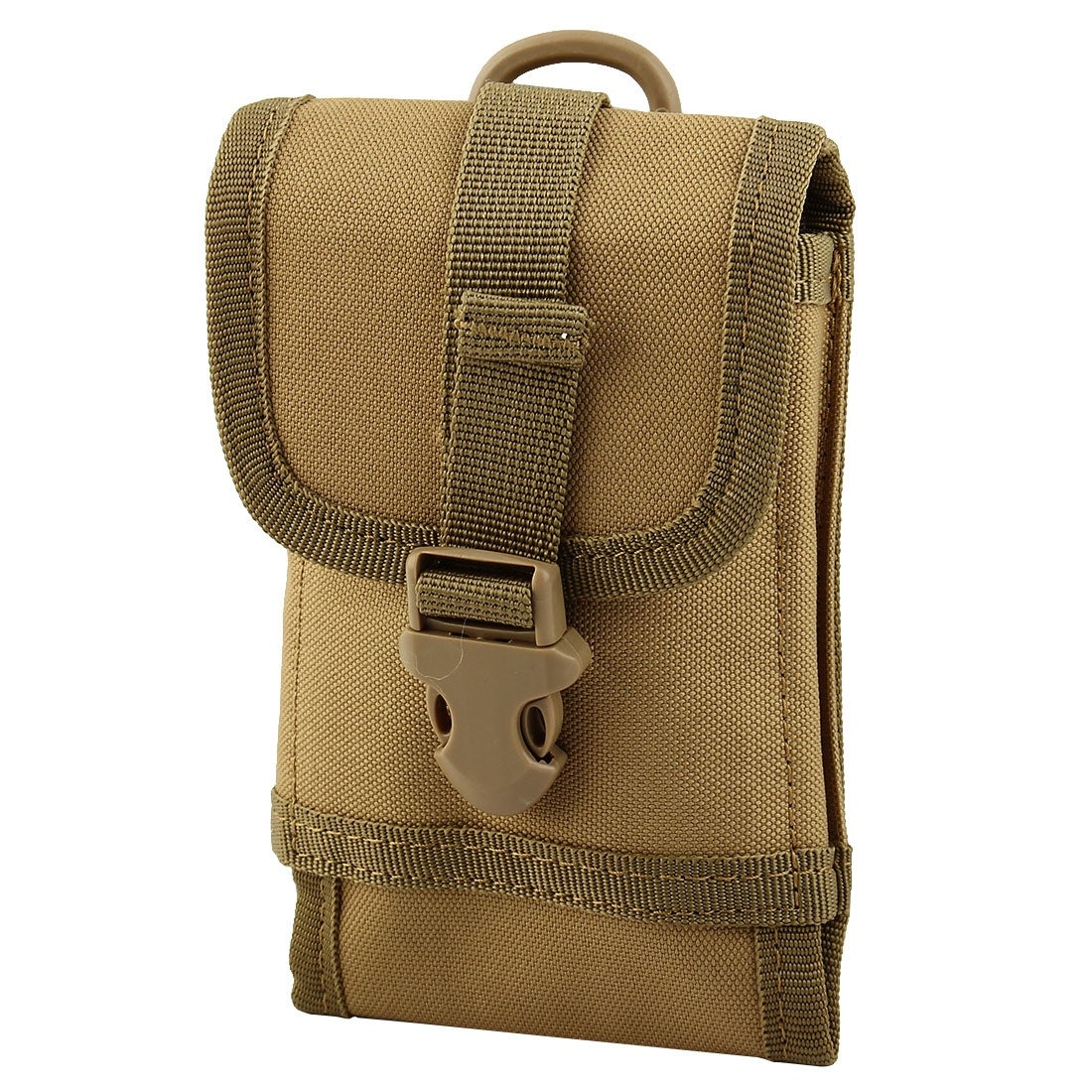 Outdoor Sport Camping Nylon Cell Phone Wallet Holder Adjustable Waist Bag Khaki