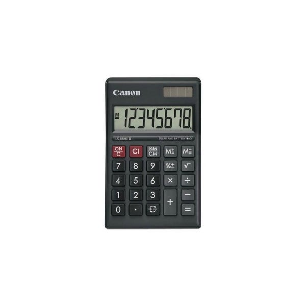 "Canon USA LS-88HI III-BK Mini Desktop Calculator Canon LS-88HI III Portable Display - Battery/Solar Powered - 1"" x"