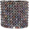 D'AMA 10 Strand Freshwater Cultured Pearl Womens Stretch Bracelet With Stainless Steel Beads - Thumbnail 0