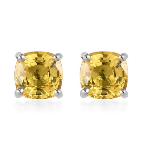 950 White Platinum Yellow Sapphire Stud Elegant Earrings Ct 3.8