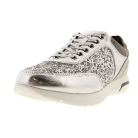 Wanted Womens Hayes Faux Leather Glitter Fashion Sneakers