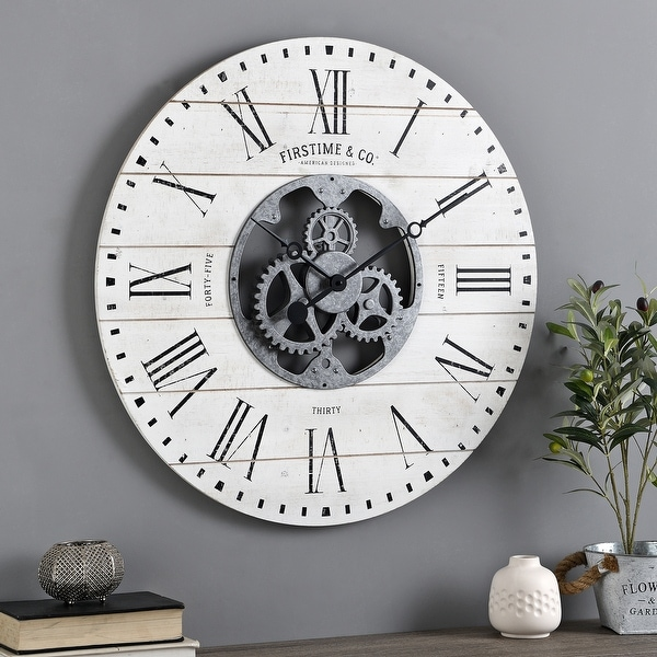 FirsTime & Co. Shiplap Farmhouse Gears Wall Clock. Opens flyout.