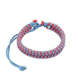 Pink and Blue Fishtail Braided Leather Bracelet with Drawstring (10 mm) - 7.5 in