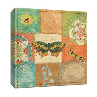 "PTM Images 9-153018  PTM Canvas Collection 12"" x 12"" - ""Folk Floral IV"" Giclee Butterflies and Dragonflies Art Print on Canvas"