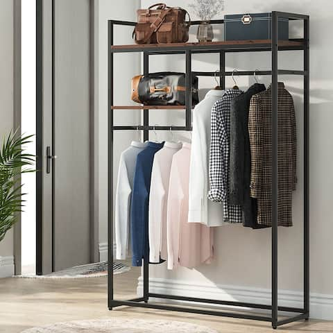 47 inches Double Rod Closet Organizer, Free-standing Garment Rack with Shelves